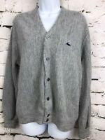 Vintage IZOD of London LACOSTE Grandpa Gray Cardigan Sweater Medium 1970's