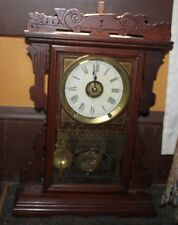 VINTAGE ANTIQUE SETH THOMAS EIGHT DAY WOOD  MANTLE CLOCK WITH Bong