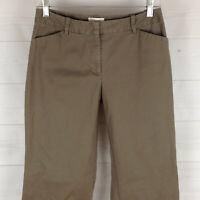 Ann Taylor LOFT womens size 2 stretch taupe brown flat front bootcut khaki pants