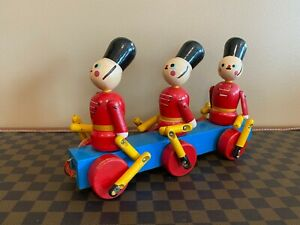 Vintage Marching Soldiers Pull Toy - Japan - Circa 1960's - All Wood