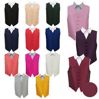 DQT Boys Waistcoat Woven Plain Solid Check Wedding Tuxedo Vest All Sizes
