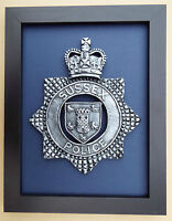 Large Scale Framed Sussex Police Cap Badge Plaque