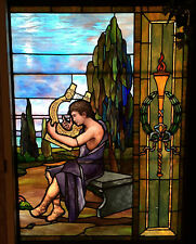 "Antique Stained Glass Window Ancient Greek Boy w/ Harp 54""x41"" L.A,Calif.pick-up"