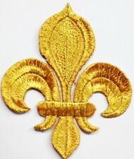 "Fleur De Lis Applique Gold Metallic Iron On Patch Motif Embroidered 4"" (GB323)"