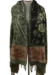 long neck scarf 74 x 27 reversible fringe floral paisley red tan