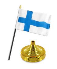 "Finland Flag 4""x6"" Desk Set Table Stick Gold Base"