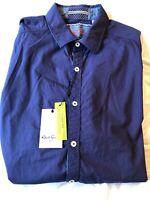 Robert Graham Navy Button Down Shirt w Embroidered Detail Size L