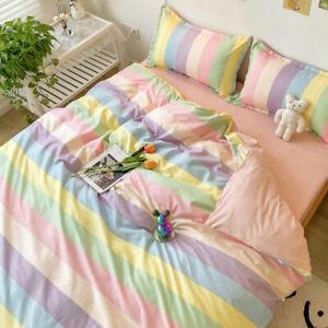 Rainbow Striped Bedding Set Flat Sheet  Duvet Quilt Cover Pillowcase Cotton 4PC