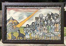 Framed Signed Naive Folk Art Ethiopian Religious Painting Amharic Script