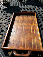 """Hand Made Zigzag Parquet Wood Decorative Food Tray with Handles 18¾"""" by 9¼"""""""