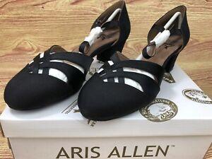 Size 9 Aris Allen Women's 1930sBlack Satin Low-Heeled Dance Shoes Street Soles