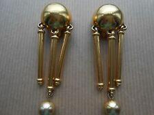 BEN AMUN Signed Vintage Goldtone Long Dangle/Drop Clip-on Statement Earrings