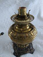 Vintage Bradley & Hubbard Brass Ornate Rayo Store Oil Lamp, electrified