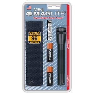 Mag-Lite® Mini XENON AA Taschen-Lampe IPX4 wasserabweisend inkl. Nylon-Holster