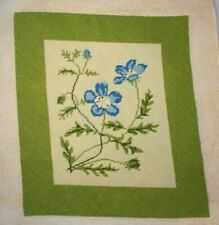 Blue Flowers Floral Needlepoint Completed Finished Green Border