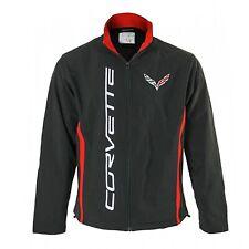 Calhoun Sportswear Men's Chevy Corvette Jacket, Embroidered Badge Logo, Black