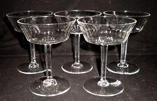 5 X VINTAGE ART DECO CRYSTAL GLASS FACET STEM CHAMPAGNE COCKTAIL GLASSES [151]