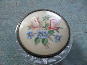 "Vintage round Cut Glass petit point lidded dressing table powder pot  @"""