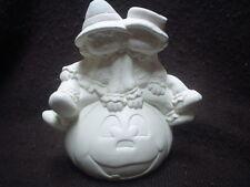 """E412 - 7"""" Ceramic Bisque 2 Scarecrows on Jack-o-Lantern Pumpkin - Ready to Paint"""