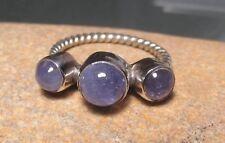 Sterling silver triple blue tanzanite stone ring UK N½/US 7