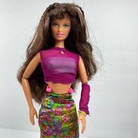 Vintage 90's Teresa Barbie Fashion Doll 1990's Mattel with Floral Dress Sheer