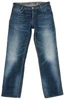 Pme Jean pour Hommes Coupe Droit Standard Bleu Foncé Délavé Bouton Fly Pantalon