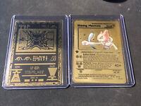 Pokemon Ancient Mew Black Gold Metal Custom Card + Shining Mewtwo