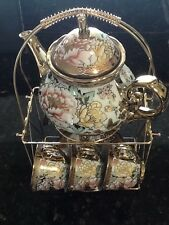 13pc Chinese Tea Sets - Tea Pot & 6 Cups & Saucers with Rack. Multi color ......