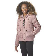 Bebe Women's Plus Hooded Puffer Bomber Winter Jacket, Size 3X, Dusty Rose