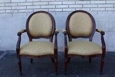 Gorgeous Pair of French Bergere Mahogany Spring Armchairs, New Upholstery