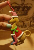 DOG with hat CHRISTMAS Tree HOLIDAY Ornament • Pre-owned • Nice Condition