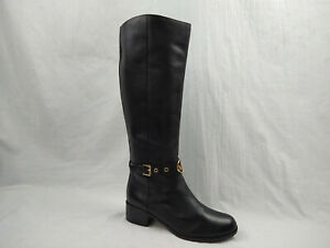 Michael Kors Heather Black Leather Knee High Riding Boots Women's Size 7.5 M US