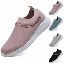 Женщины дышащий кроссовки кроссовки Спорт кристалл сетка насосы скольжения на носок туфли B