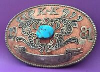 VTG 1981 Navajo AHASTEEN Sterling Filigree Turquoise Western Trophy BELT BUCKLE