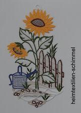 PLAUENER SPITZE ® Fensterbild SOMMER Fensterdekoration Frühling SONNENBLUME Deko