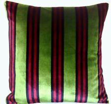 Stripes Cushion Cover Velvet Fabric Osborne & Little Green Square and Rectangle
