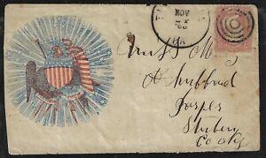 US CIVIL WAR 1863 UNION PATRIOTIC COVER THOMBURG IOWA TARGET FANCY CANCEL TYING