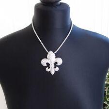 STATEMENT fleur de lys lis diamante  pendant on silver tone chain Goth Medieval