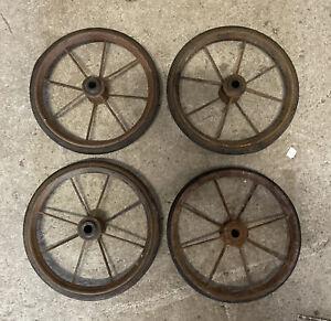 Set Of 4 X Vintage Pedal Car Spoke Wheels 19cm Diameter