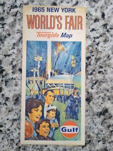 New York Worlds Fair 1965 Vintage Road Map GULF Gas Service Station