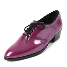 Men's glossy purple plain toe lace up dress shoes hand made KOREA US6-US10.5