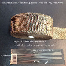 """Thermal Header Pipe Tape Titanium Lava Exhaust Wrap 1/16 in.×2""""x 50ft Ties Kit"""