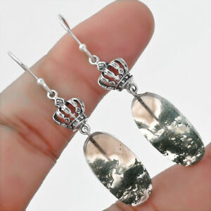 Natural Horse Canyon Moss Agate 925 Sterling Silver Earrings Jewelry E218