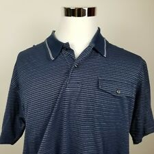 TOMMY HILFIGER Mens Polo Short Sleeve Shirt Blue White Silver Unique Stripes XL