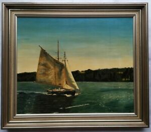 Framed Oil Painting - Classic Sailing Yacht (Gosford NSW) - signed J.R 1977