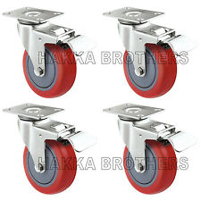 """4 Pack Caster Wheels Polyurethane Base with Top Plate & Bearing 3"""" Brake"""
