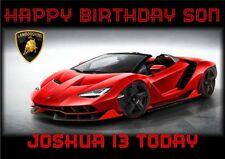 personalised birthday card Lamborghini sports car any name/age/relation/