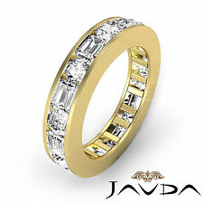 Round Emerald Channel Diamond Ring Eternity Wedding Band 14k Yellow Gold 2.4Ct
