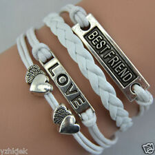 Heart LOVE BEST FRIEND Handmade Knit White Leather Charms Bracelet Gift