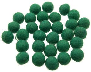 25 Perline Palle Di Feltro Naturale Ø=1.3 CM Nepal Verde BA4